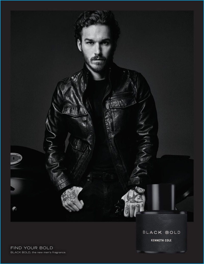 Photographed by Gregory Harris, David Flinn stars in Kenneth Cole's Black Bold fragrance campaign.