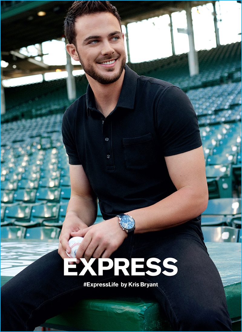 Kris Bryant sports a black polo shirt and denim jeans for Express' fall-winter 2016 campaign.