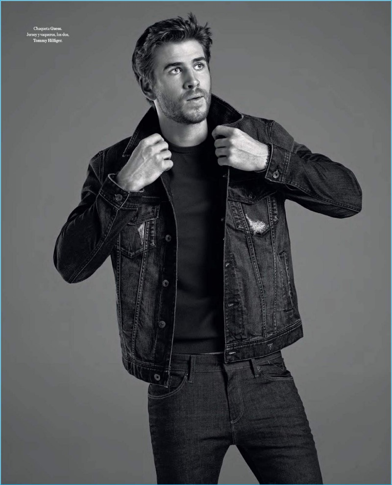 Liam Hemsworth embraces casual style in a denim jacket from GUESS with Tommy Hilfiger jeans.