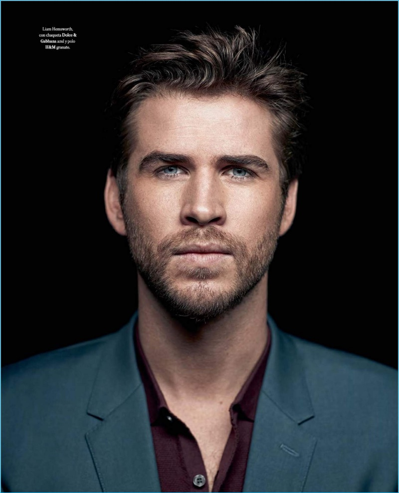 Liam Hemsworth is front and center in a Dolce & Gabbana blazer with a H&M polo shirt for Icon El País.