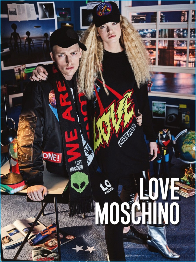 Victor Nylander embraces graphic fashions for Love Moschino's fall-winter 2016 campaign.