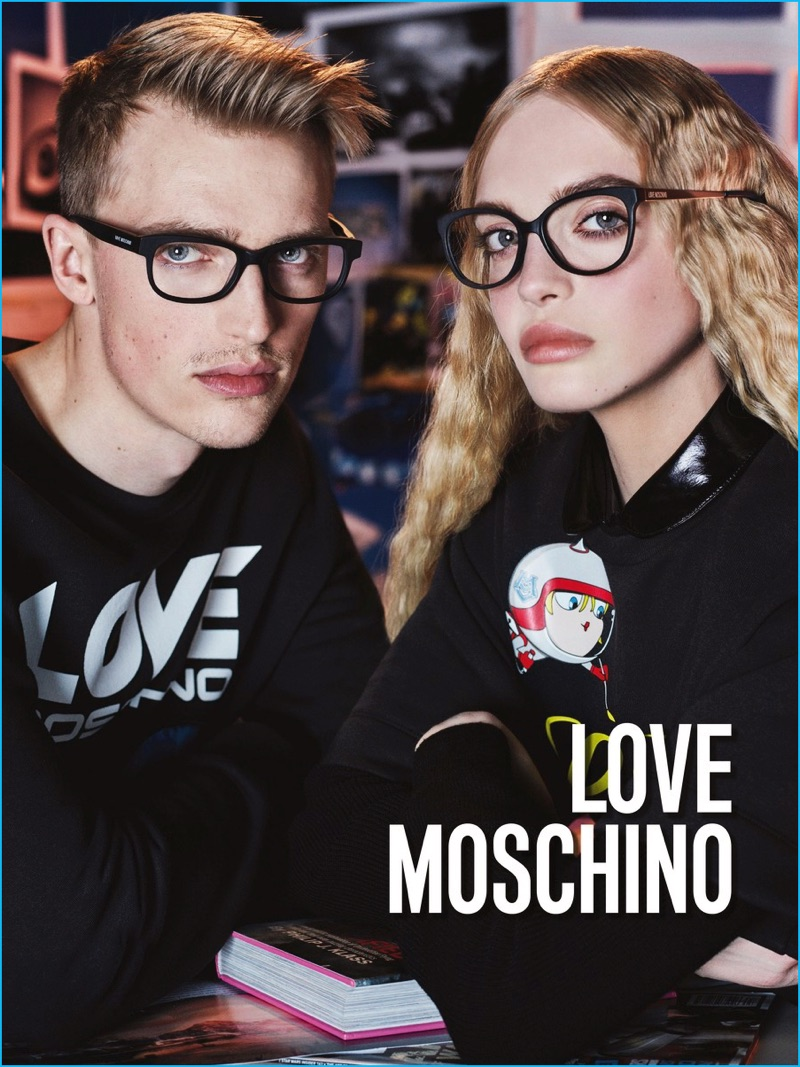 Victor Nylander fronts Love Moschino's fall-winter 2016 campaign.