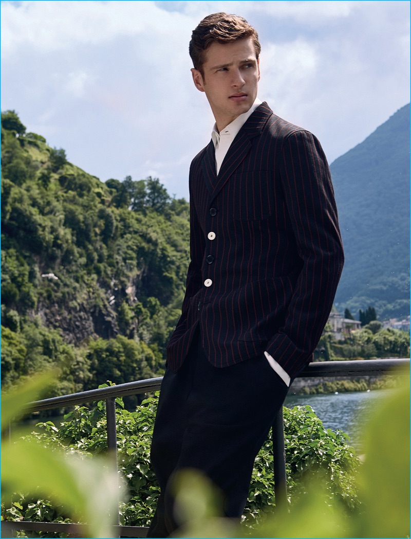 Lucas Mascarini makes a striped suiting proposal in a look from Marni.