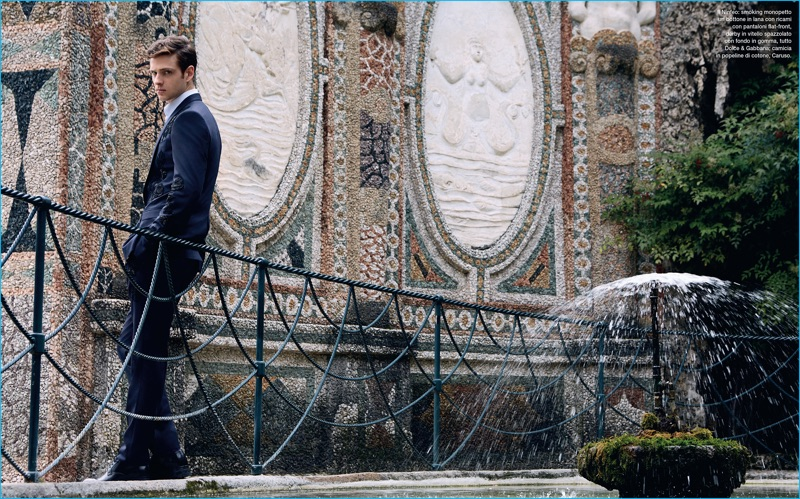 Lucas Mascarini channels a dandy edge with Dolce & Gabbana's sequin embellished suiting.