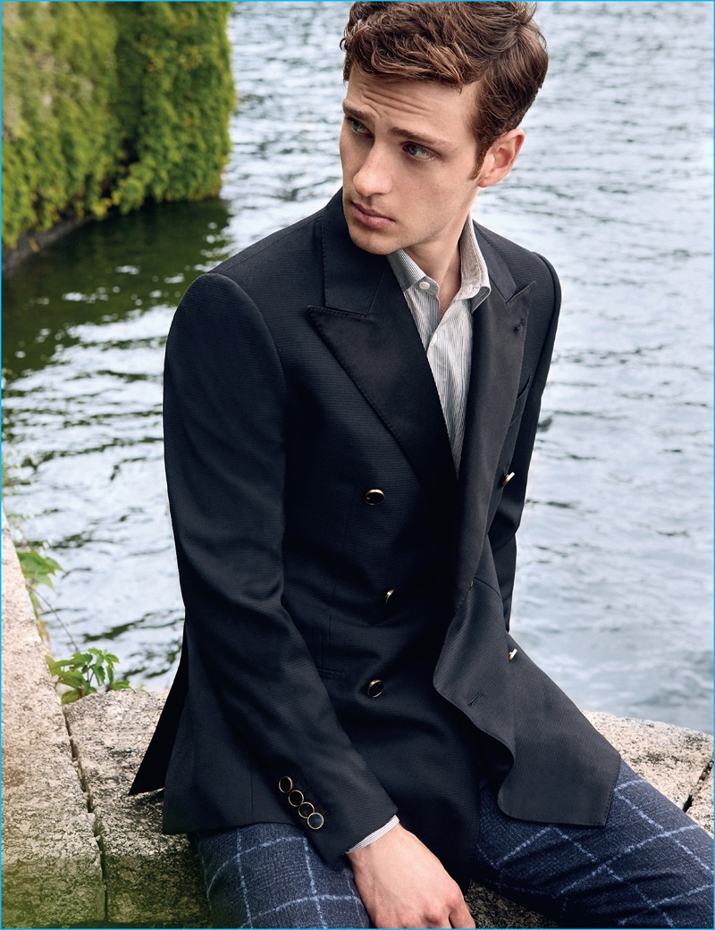 Lucas Mascarini pictured in a double-breasted Caruso jacket with windowpane print Berwich trousers.