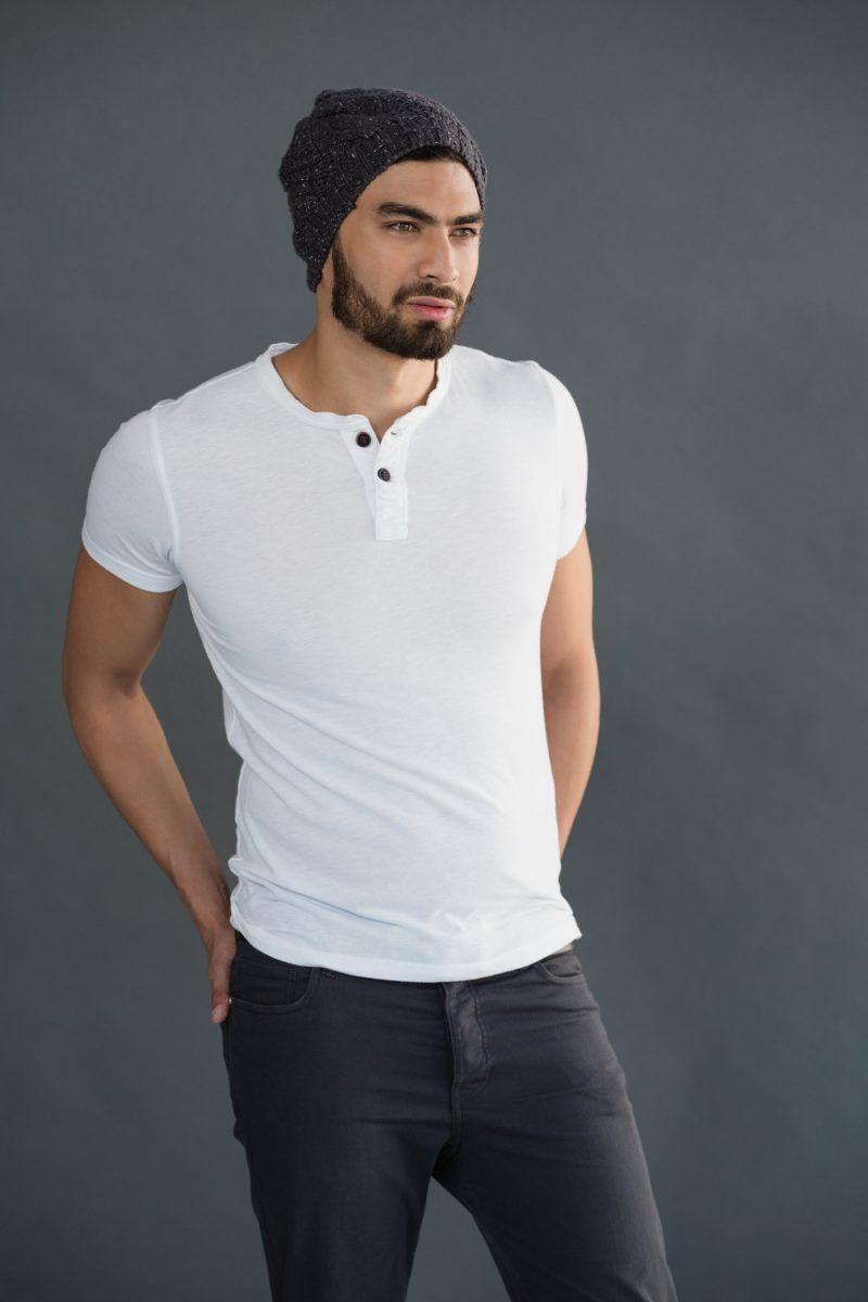 Male Model Wearing Henley