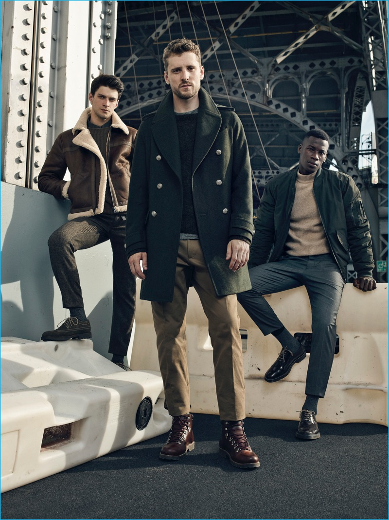 Models Matthew Bell, George Barnett and David Agbodji channel military style for Mango Man's fall-winter 2016 campaign.