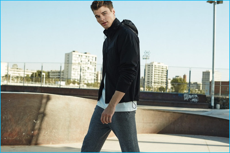 English model Arran Sly embraces a sporty aesthetic for Mango Man's latest style update.