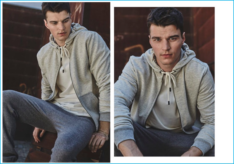 Arran Sly sports fall-winter 2016 athleisure styles from Mango Man.