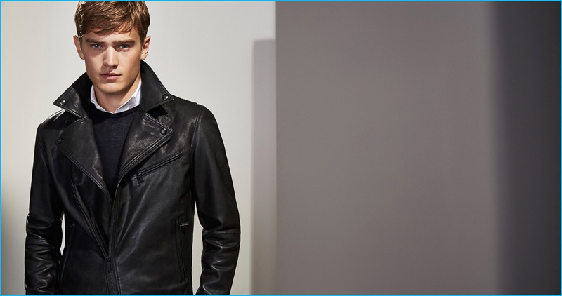 Bo Develius rocks a black nappa leather biker jacket from Massimo Dutti's Personal Tailoring collection.