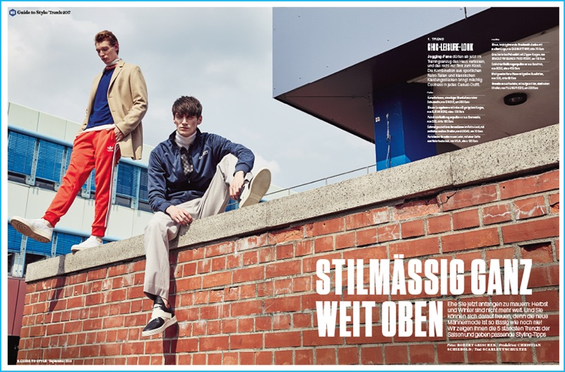Pictured left to right, models Lucas Dambros and Mihai Bran embrace the athleisure fashion trend for fall-winter 2016.