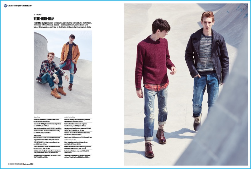 Lucas Dambros and Mihai Bran model workwear-inspired looks for Men's Health Germany.