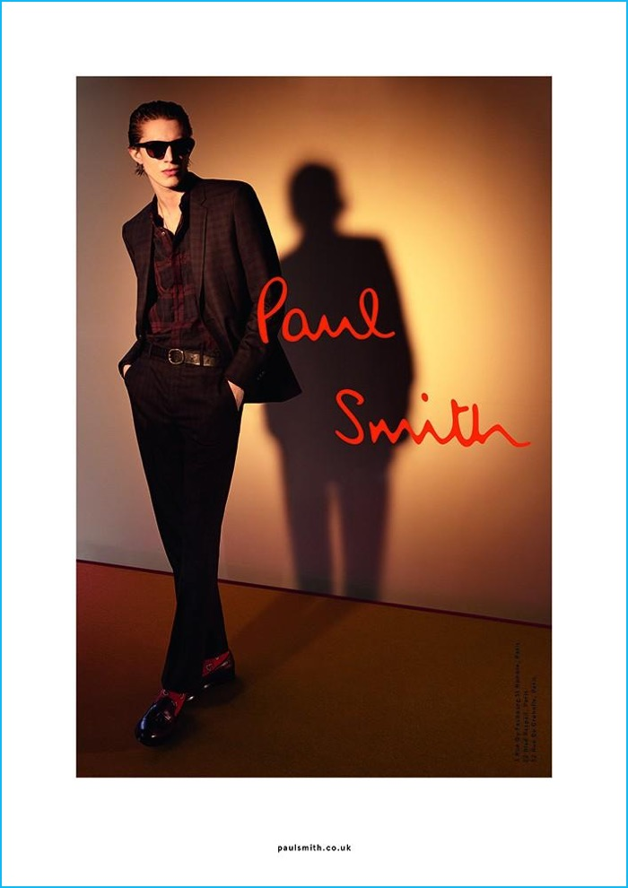 Xavier Buestel is a cool vision in Paul Smith's travel suit for the brand's fall-winter 2016 campaign.
