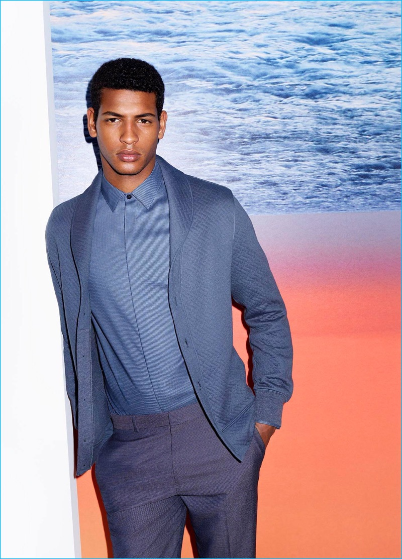 Model Tidiou M'Baye embraces blue hues as the star of Perry Ellis' fall-winter 2016 campaign.