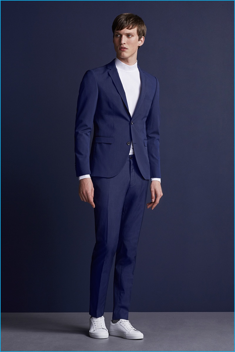 f4acbc624246 Malthe Lund Madsen dons a blue suit with white sneakers from Premium by Jack    Jones