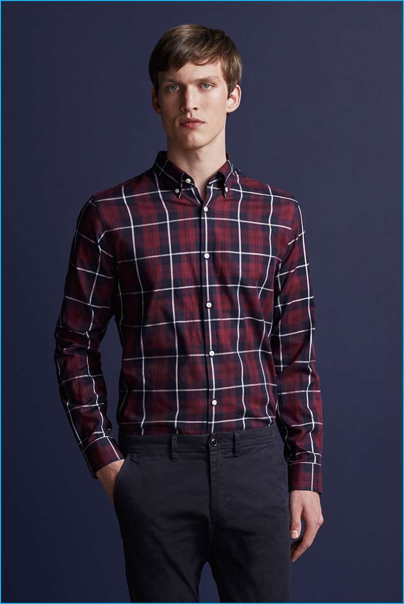 Malthe Lund Madsen is front and center in a red plaid shirt from Premium by Jack & Jones' fall-winter 2016 NOOS collection.