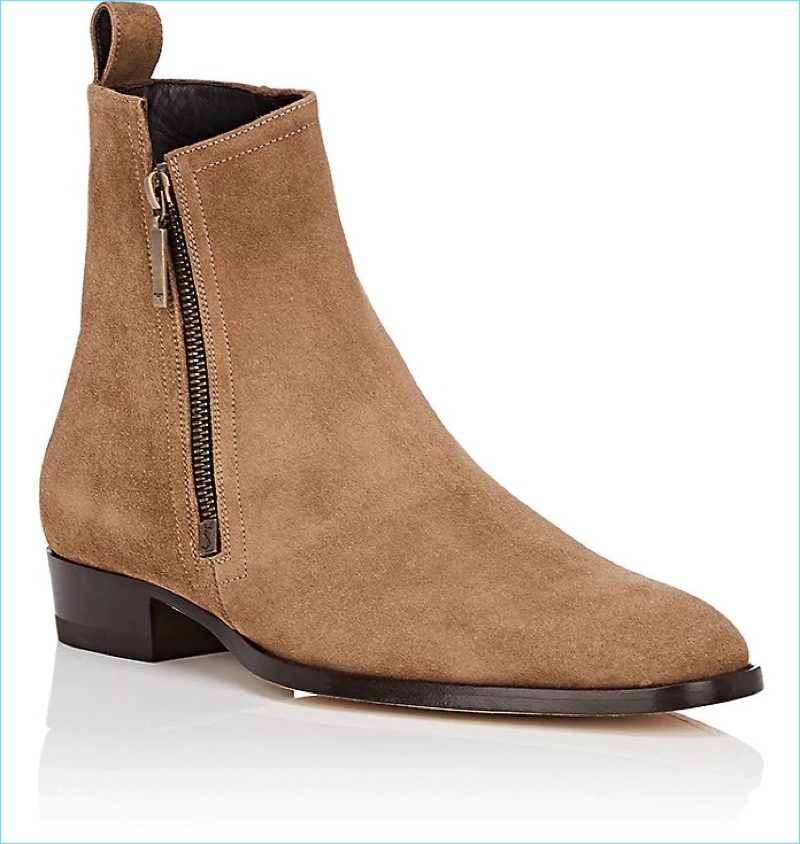 Saint Laurent Wyatt Suede Men's Side-Zip Boots