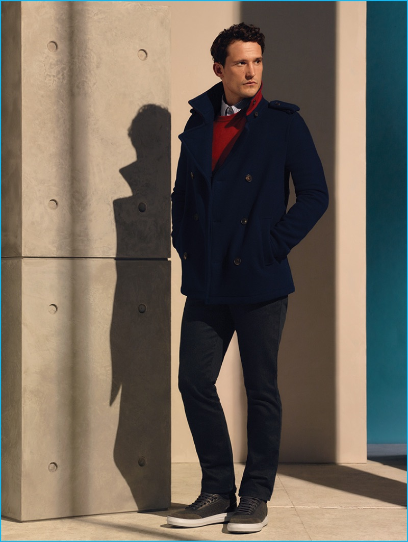 Sam Webb channels a nautical spirit in a navy peacoat from Salvatore Ferragamo's pre-fall 2016 men's collection.