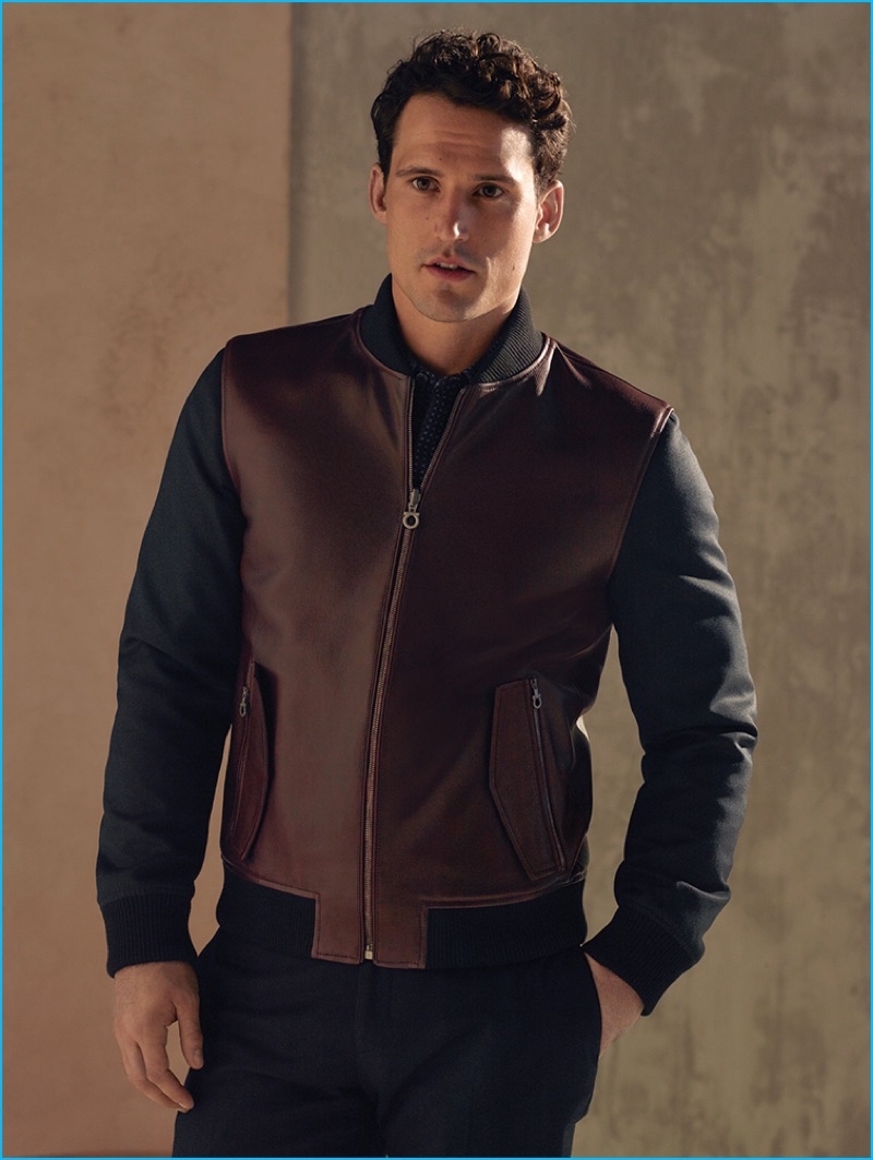 Sam Webb is front and center in a chic leather jacket from Salvatore Ferragamo's pre-fall 2016 men's collection.