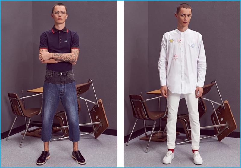 c979611642 Left to Right  Simon Kotyk wears polo shirt Vivienne Westwood