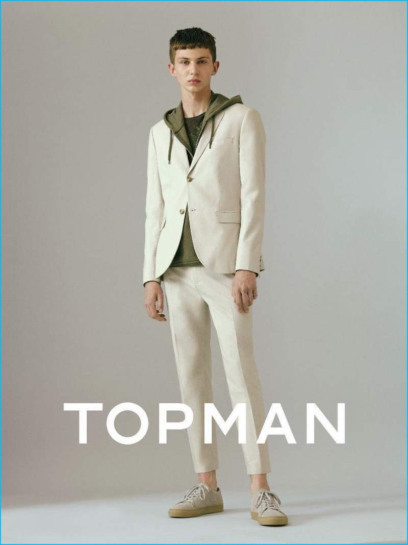 Topman adds a sporty element to trim suiting with an essential fall hoodie.