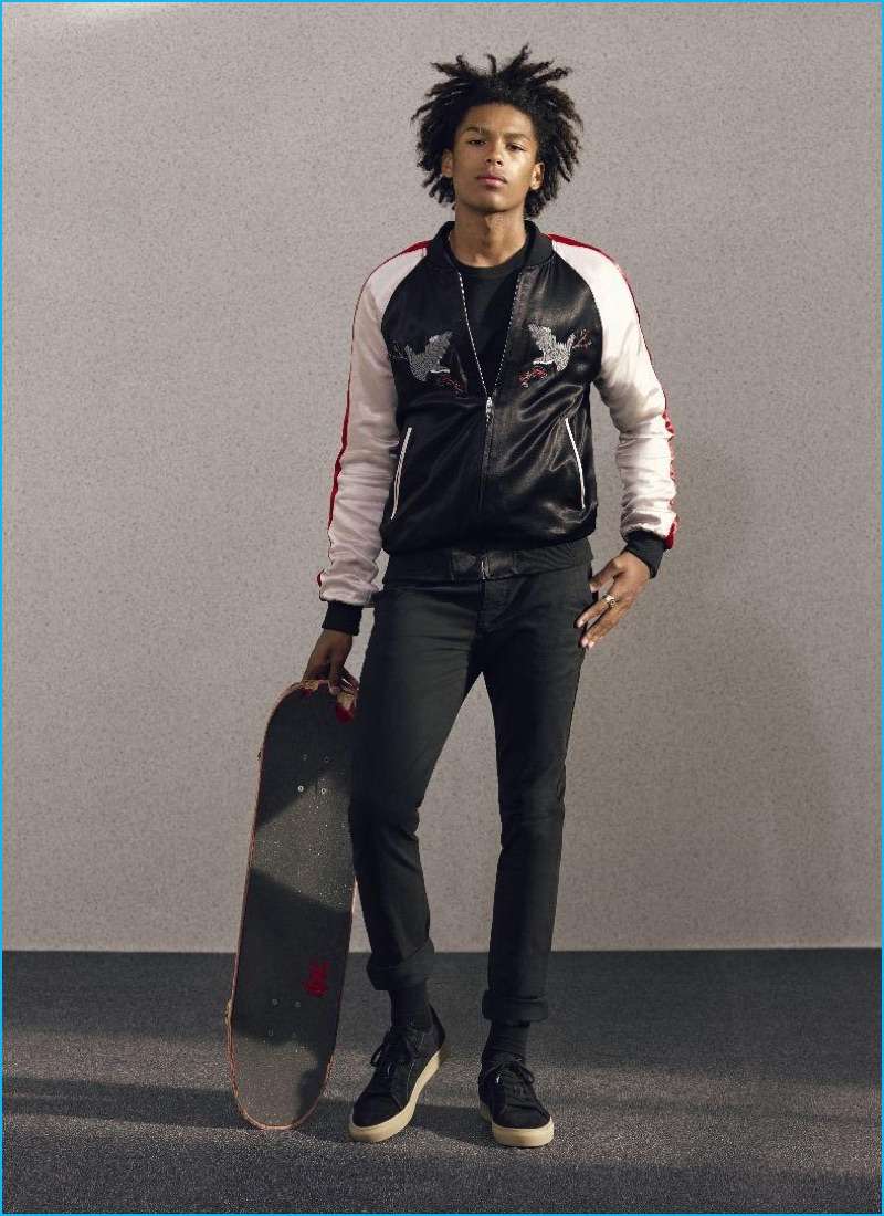 Topman injects skaterboy style with a popular trendy item–the souvenir jacket.