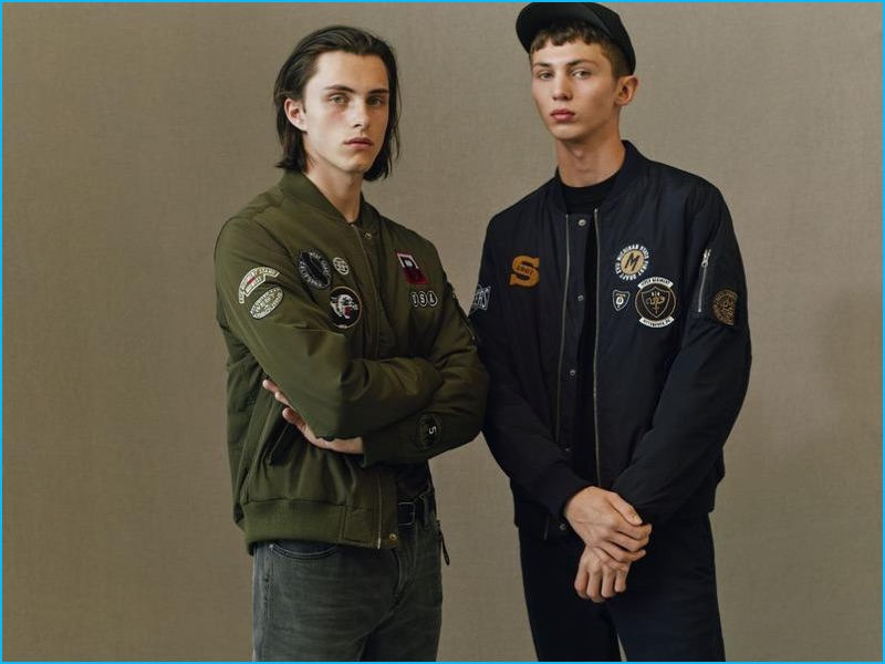 Patch covered bomber jackets are among the standouts from Topman's fall 2016 essentials.