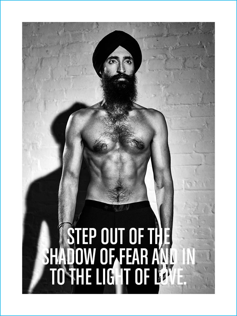 Waris Ahluwalia goes shirtless for J.Lindeberg's fall-winter 2016 advertising campaign.