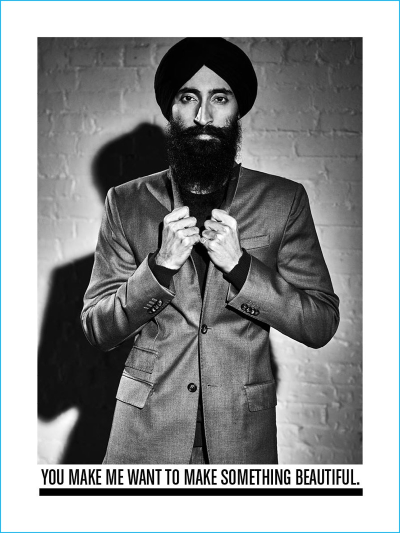 Waris Ahluwalia dons a single-breasted coat for J.Lindeberg's fall-winter 2016 campaign.