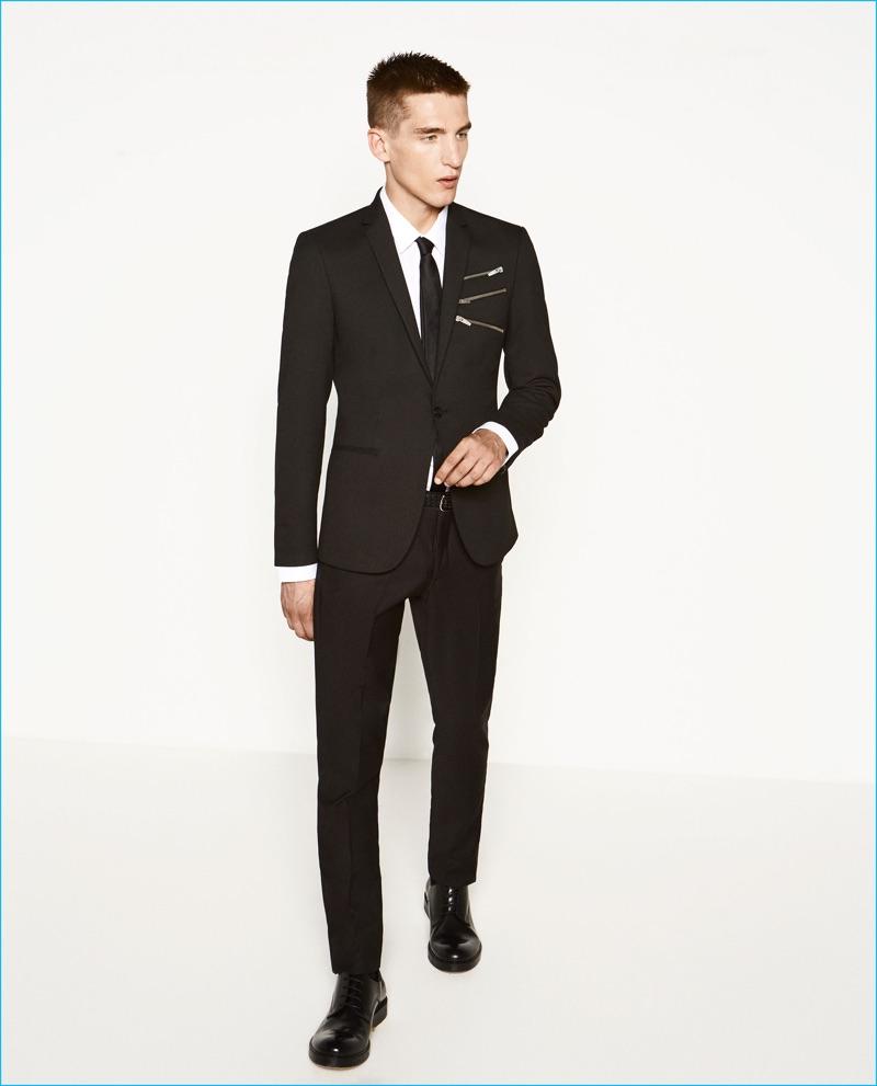 Anatol Modzelewski dons a tailored suit with zippered embellishments from Zara Man.