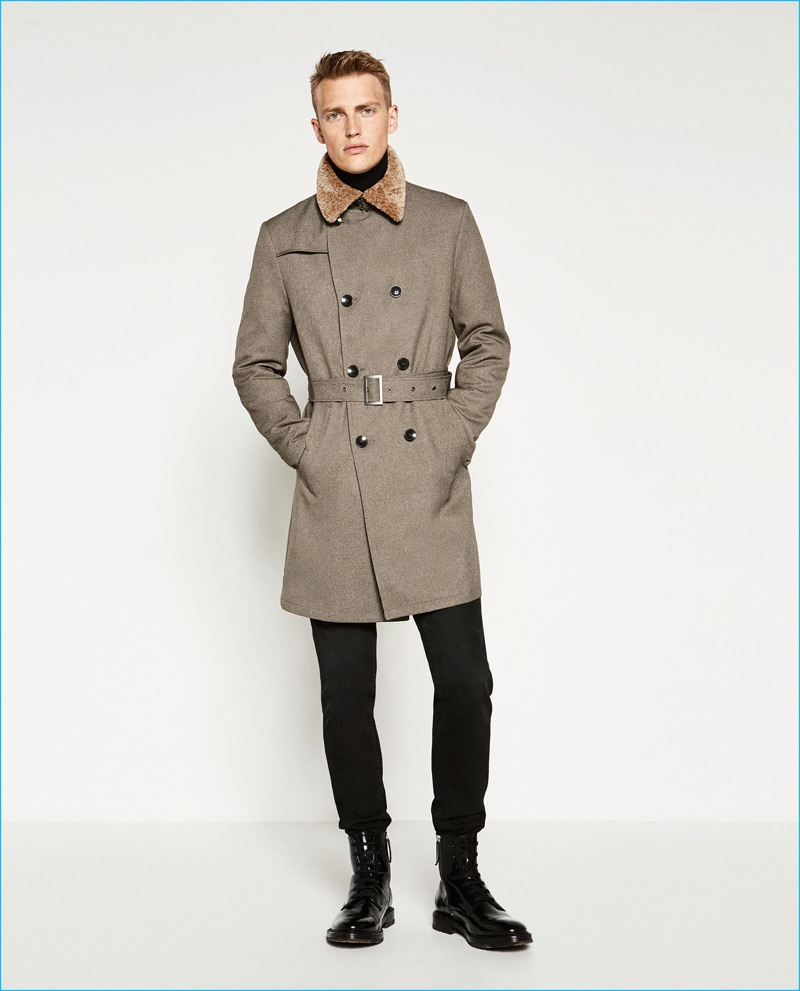 6761e7c6 Victor Nylander has a military style moment in a belted trench from Zara Man .