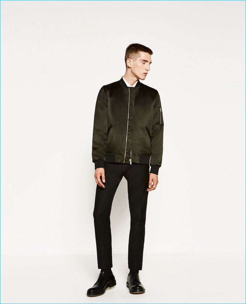 Anatol Modzelewski embraces the military trend in a sateen bomber jacket from Zara Man.