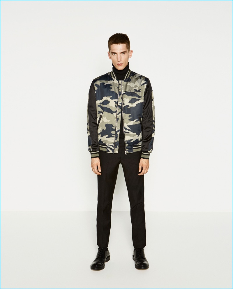 Anatol Modzelewski is front and center in a tiger camouflage bomber jacket from Zara Man.