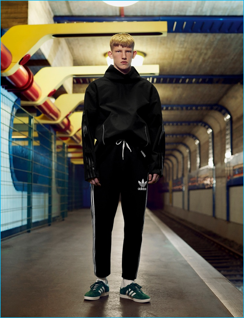 Connor Newall styled by Jay Massacret in classic active-inspired fashions from Adidas.