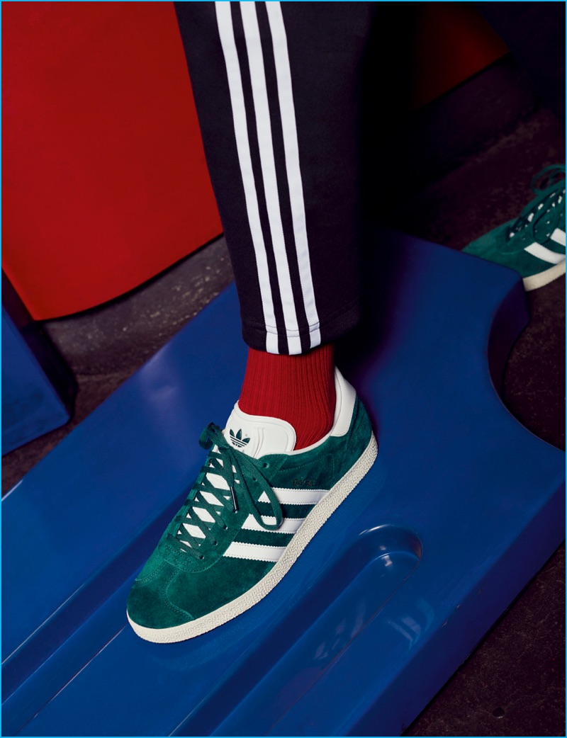 Available in over fifty colorways, Adidas' Gazelle sneakers are front and center in green.