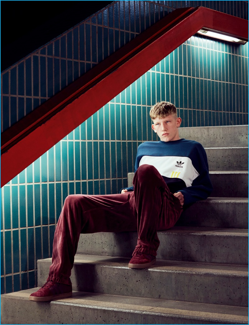Connor Newall pictured in a colorblocked sweatshirt for Adidas' fall-winter 2016 Highlights lookbook.