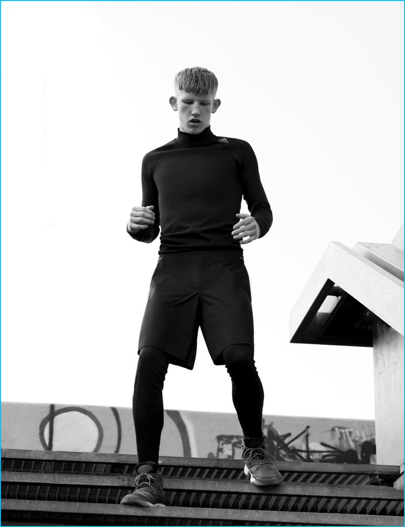 Connor Newall is a sporty vision in a monochromatic number for Adidas' fall-winter 2016 highlights lookbook.