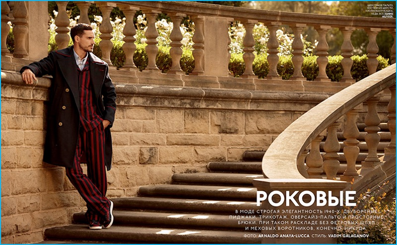 Arthur Kulkov pictured in a red and black striped Tommy Hilfiger suit for GQ Style Russia.