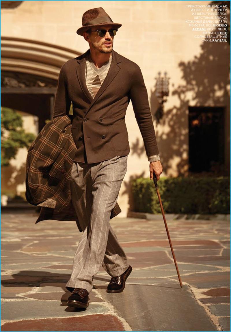 Arthur Kulkov embraces elegant lines in Giorgio Armani for GQ Style Russia.