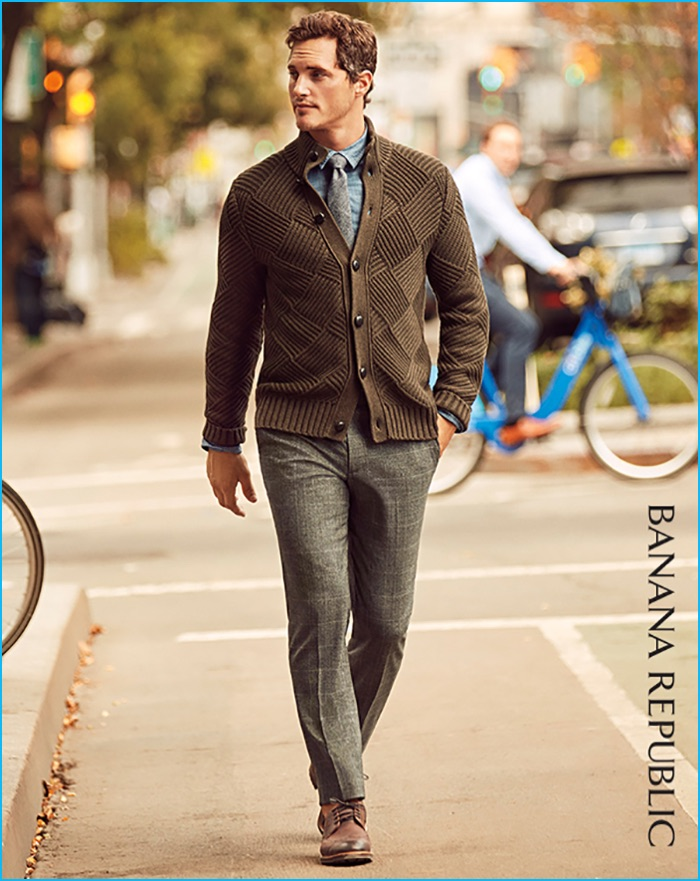 4ba3c605661d Ollie Edwards embraces a smart look in Banana Republic s standard grey  plaid wool suit trousers with