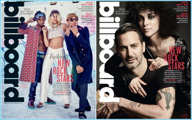 Billboard magazine covers featuring Rae Sremmurd, Sofia Richie, Marc Jacobs, and St. Vincent.