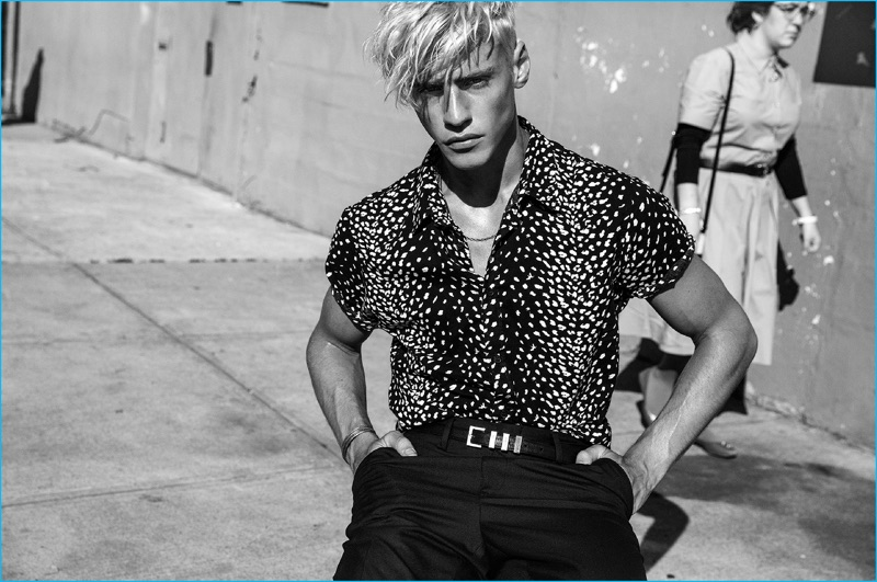 Oliver Stummvoll wears a short sleeve patterned shirt for Bowen's spring-summer 2017 campaign.