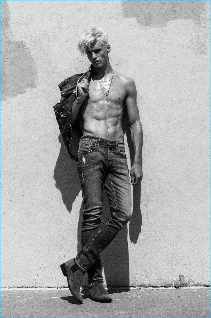 Oliver Stummvoll goes shirtless in denim for Bowen's spring-summer 2017 campaign.