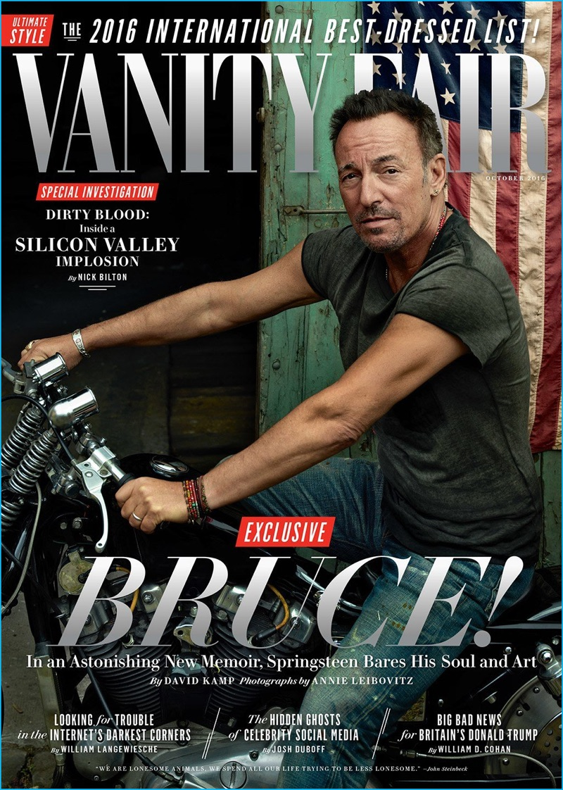 Bruce Springsteen poses on a motorcycle for the October 2016 cover of Vanity Fair.