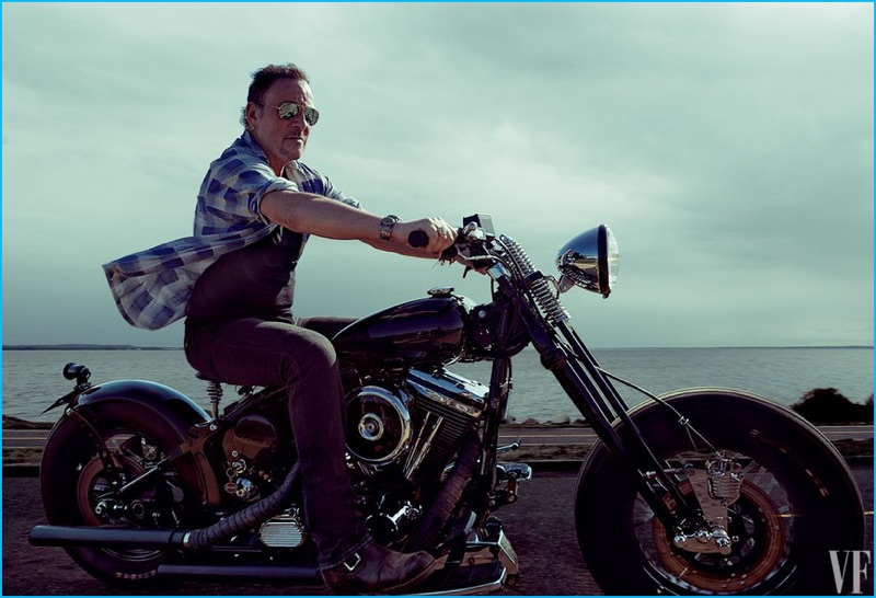Bruce Springsteen takes to the open road on the back of a motorcycle for his Vanity Fair shoot.