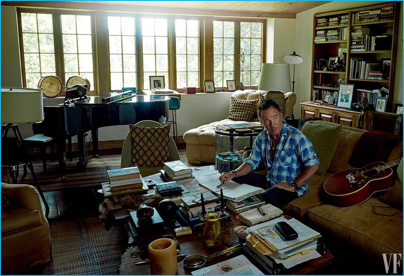 Bruce Springsteen captured at home for the pages of Vanity Fair.