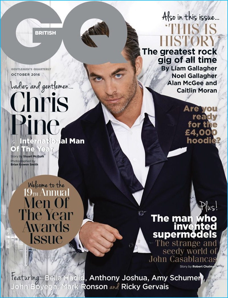 International Man of the Year, Chris Pine covers the October 2016 edition of British GQ for the magazine's Men of the Year issue.