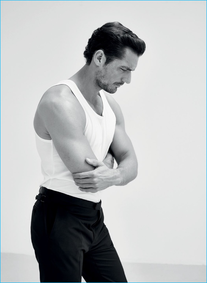 David Gandy pictured in a Calvin Klein tank with Lanvin trousers for GQ Turkey.