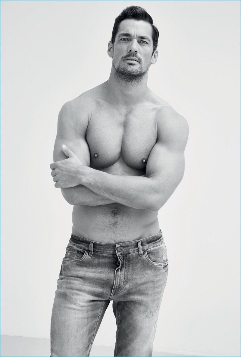 Wearing distressed denim jeans, David Gandy goes shirtless for his GQ Turkey photo shoot.