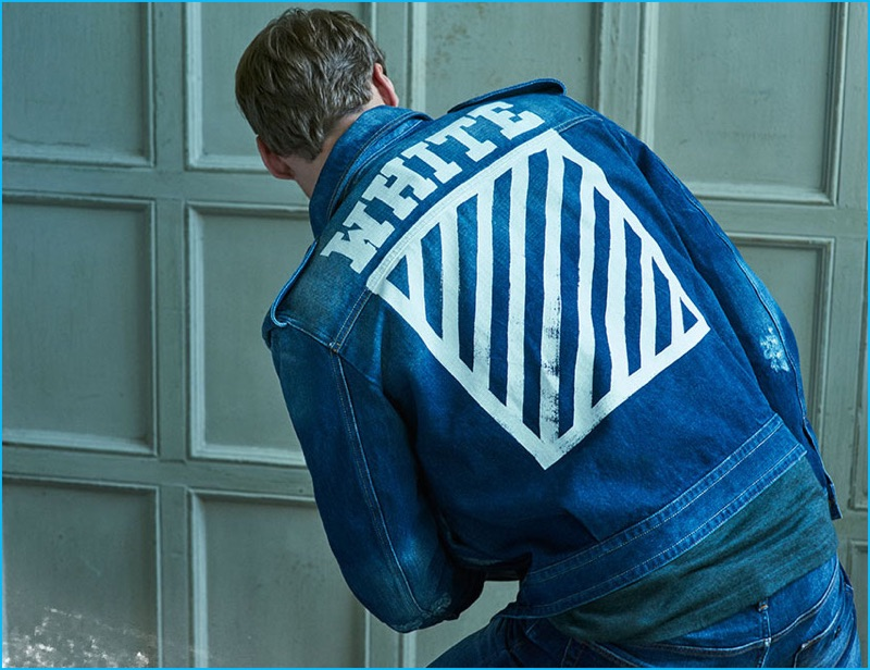 c843022fb George Alsford gets graphic in an Off-White denim jacket with a Vince  henley,
